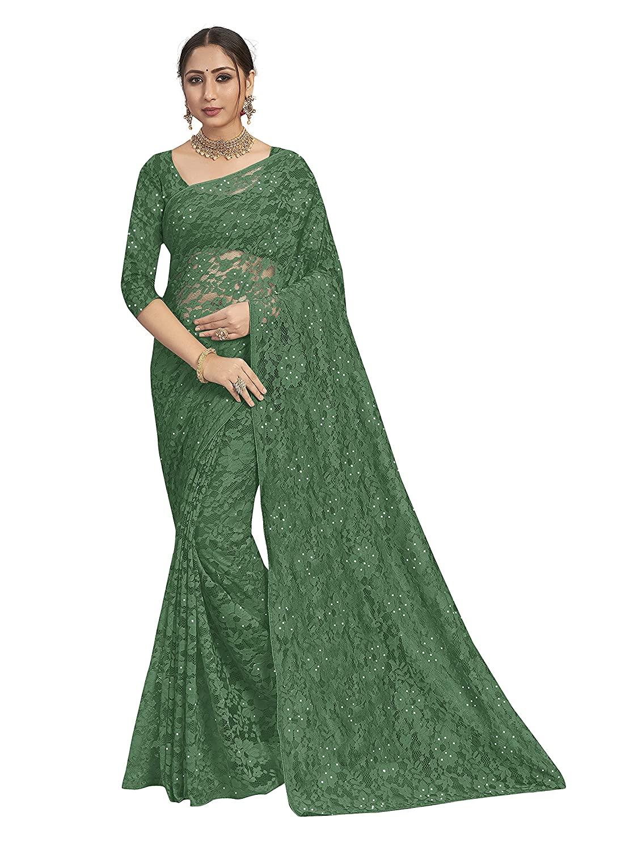 POONAM TEXTILE | Women's Dark Green Knit Brasso Saree With Blouse Piece