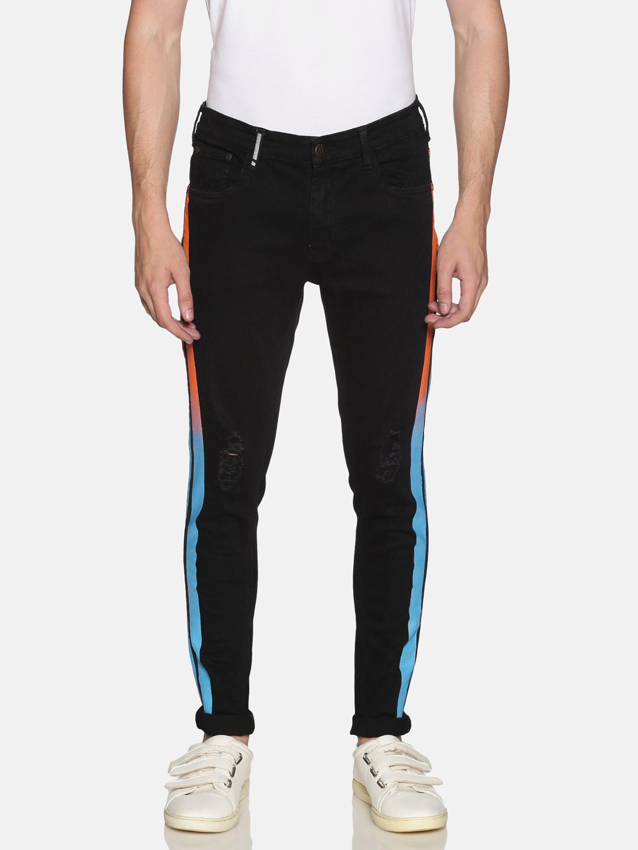 IMPACKT | Impackt Medium Washed Skinny Fit Printed Side Tape Jeans for Men
