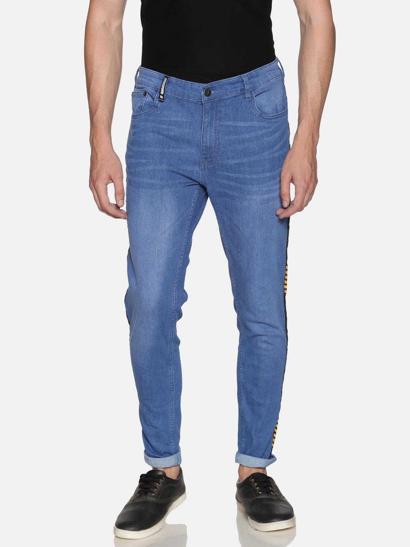 IMPACKT   Impackt Medium Washed Skinny Fit Printed Side Tape Jeans for Men