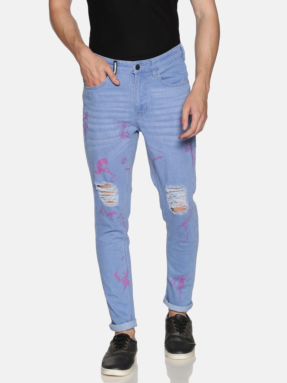 IMPACKT   Impackt Light Washed Skinny Fit Printed Jeans for Men