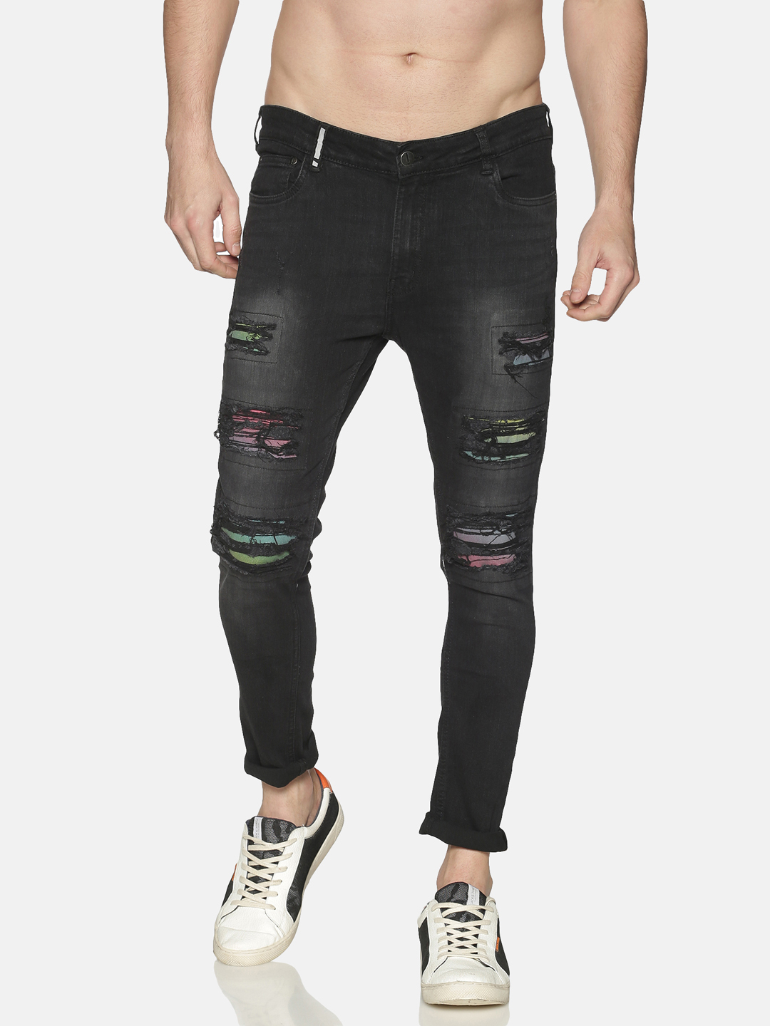IMPACKT | Impackt Men's Skinny Jeans With Printed Patch & Distressed