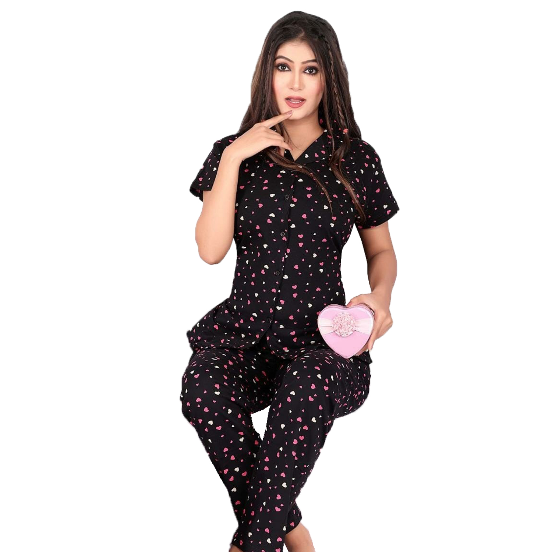 Impex | IMPEX Women's Black Cotton Hosiery Printed Nightwear (Pajama & Top)