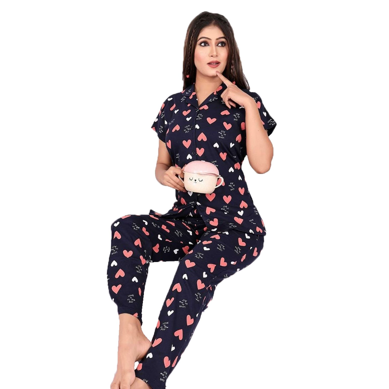 Impex | IMPEX Women's Navy Blue Cotton Hosiery Printed Nightwear (Pajama & Top)