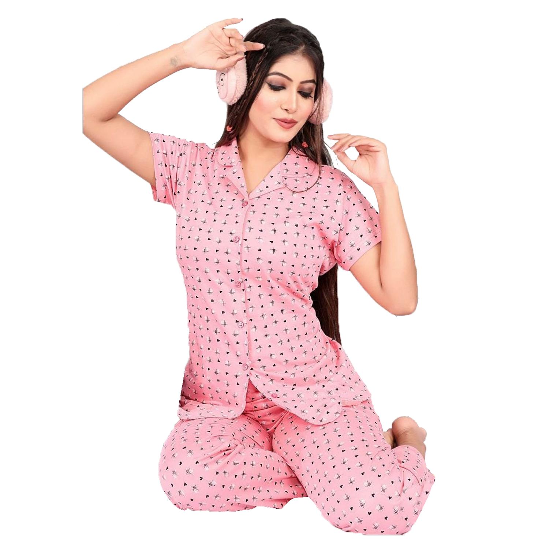 Impex | IMPEX Women's Pink Cotton Hosiery Printed Nightwear (Pajama & Top)
