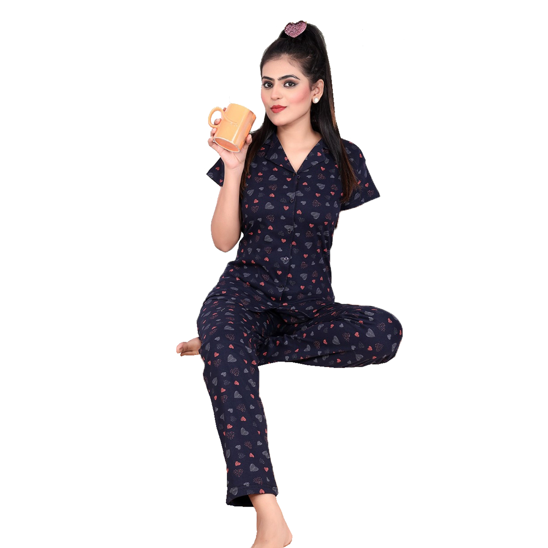 Impex | IMPEX Women's Blue Cotton Hosiery Printed Nightwear (Pajama & Top)