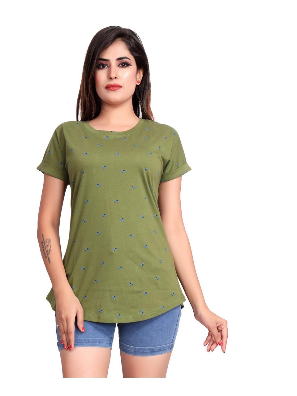 Impex   Impex Women Cotton Hosiery Printed Green Tshirt