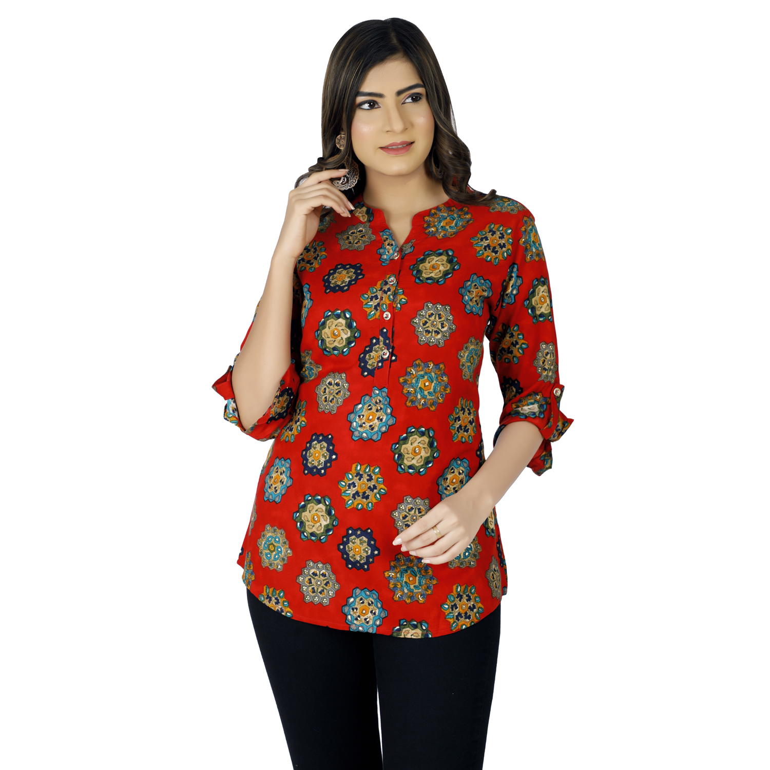 Impex | IMPEX Women's Red Rayon Mandarin Neck Printed Top