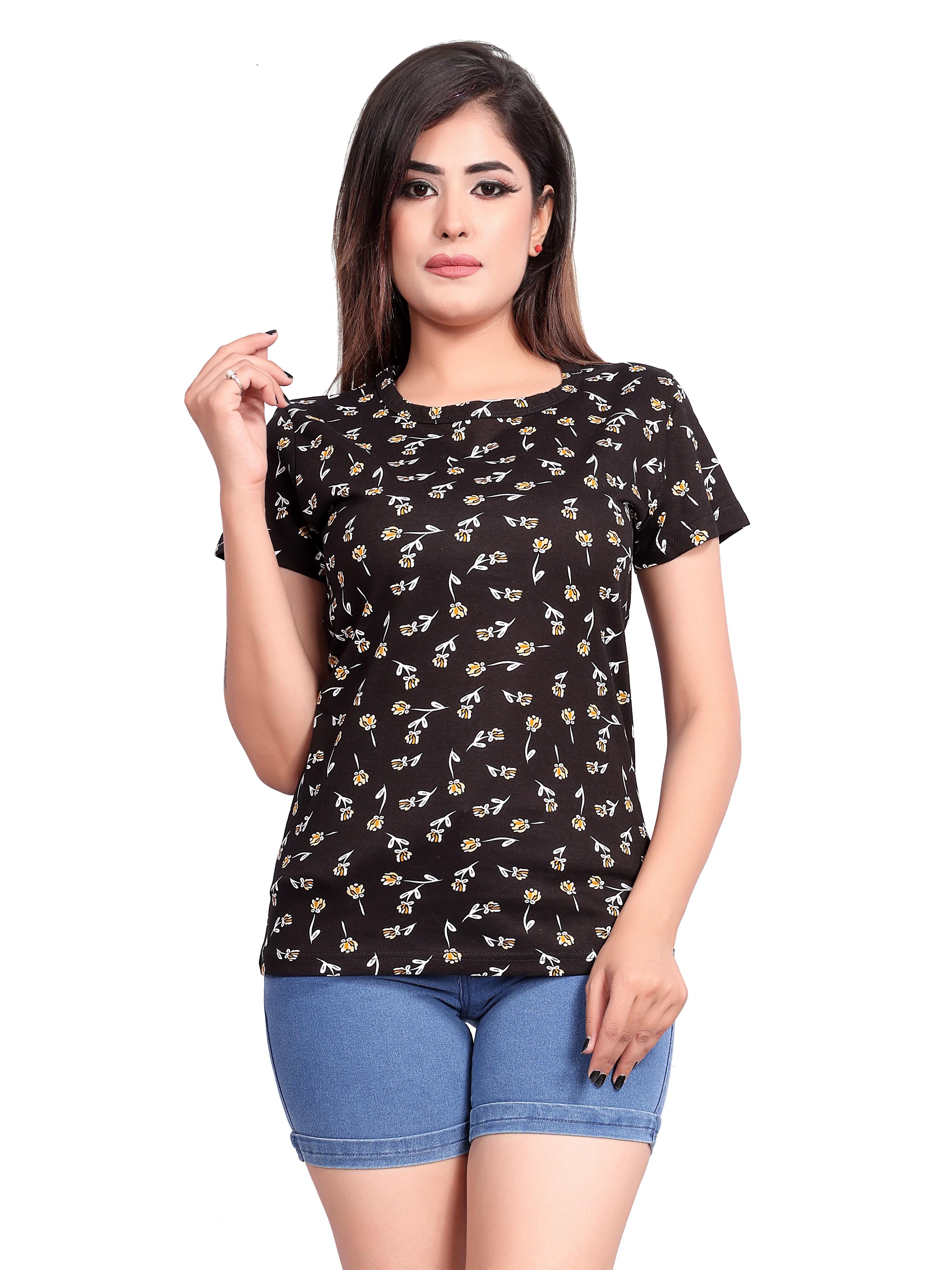 Impex | IMPEX Women's Black Cotton Hosiery Printed Round Neck T-shirt