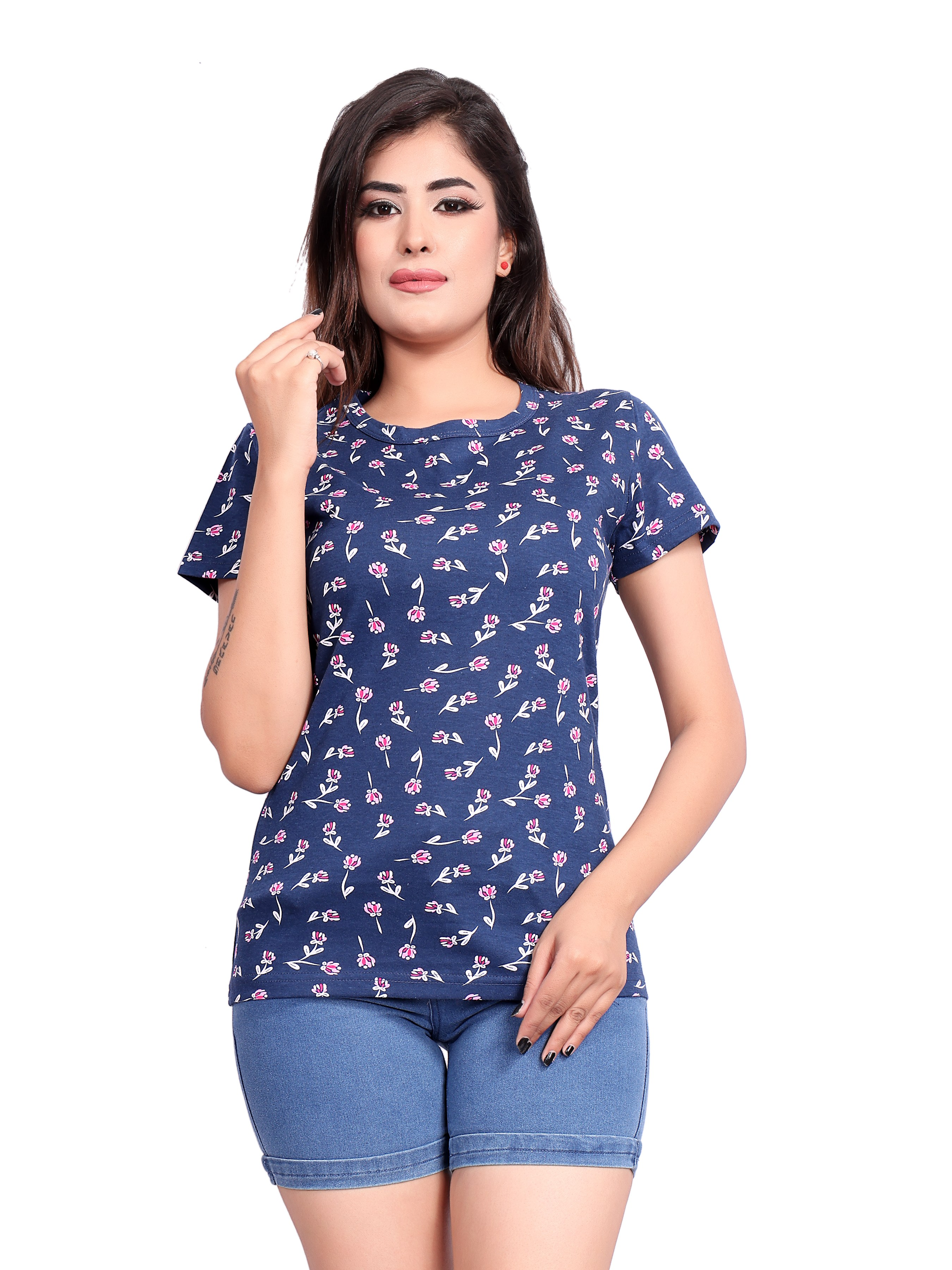 Impex | IMPEX Women's Blue Cotton Hosiery Printed Round Neck T-shirt