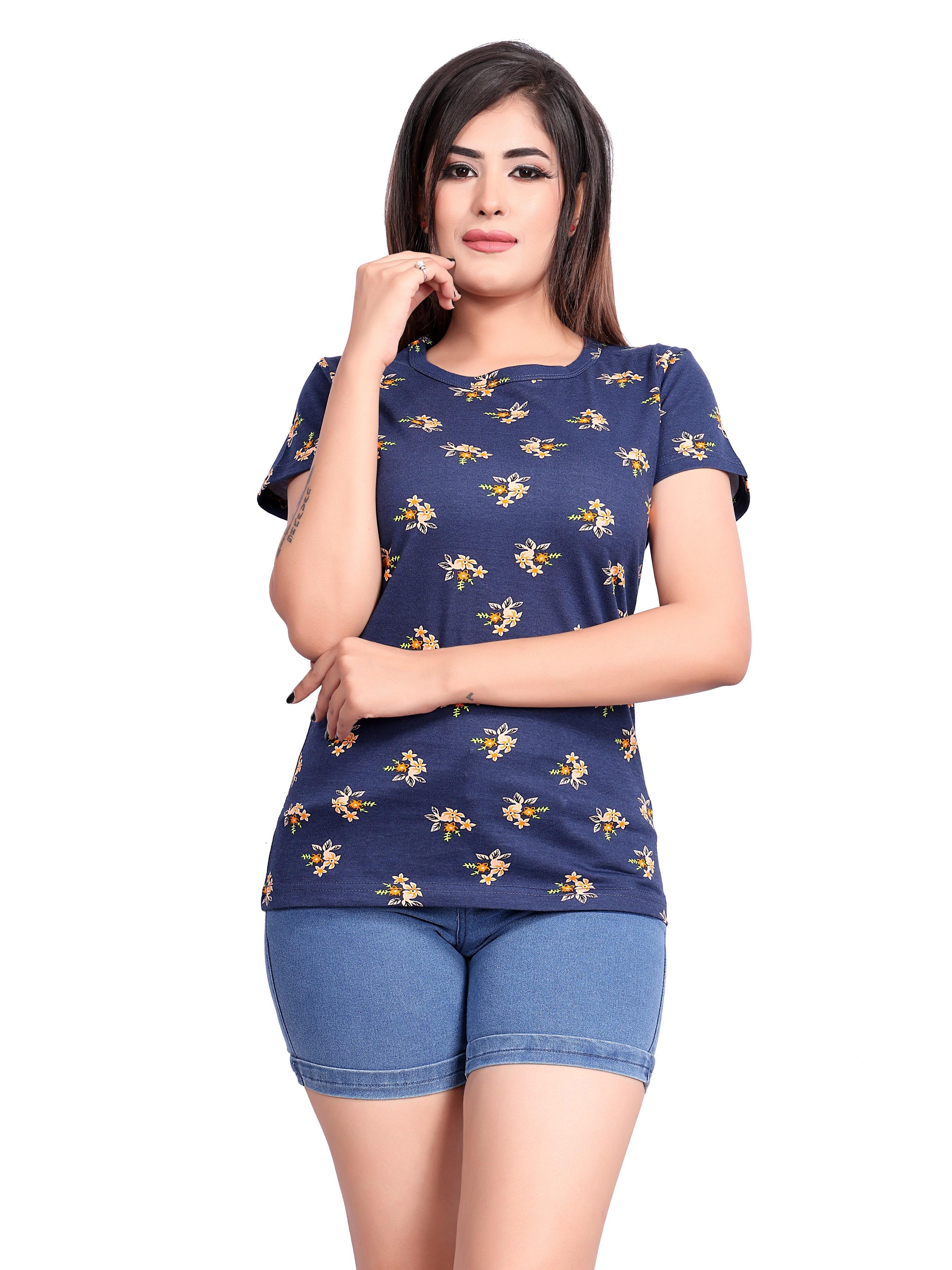 Impex | IMPEX Women's Multi Cotton Hosiery Printed Round Neck T-shirt
