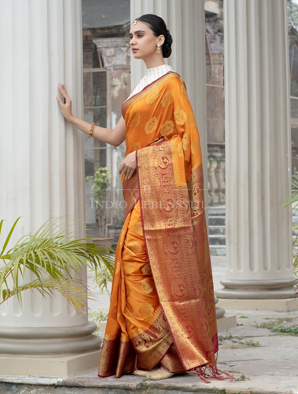 Indio Lebensstil | Jacquard Banarasi Silk Saree with Blouse Piece