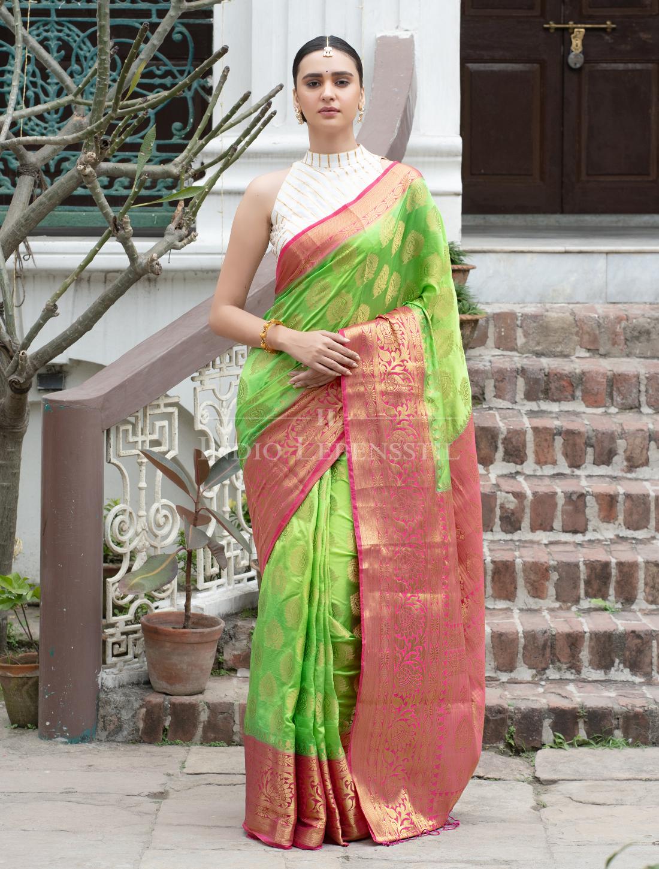 Indio Lebensstil   Jacquard Banarasi Silk Saree with Blouse Piece