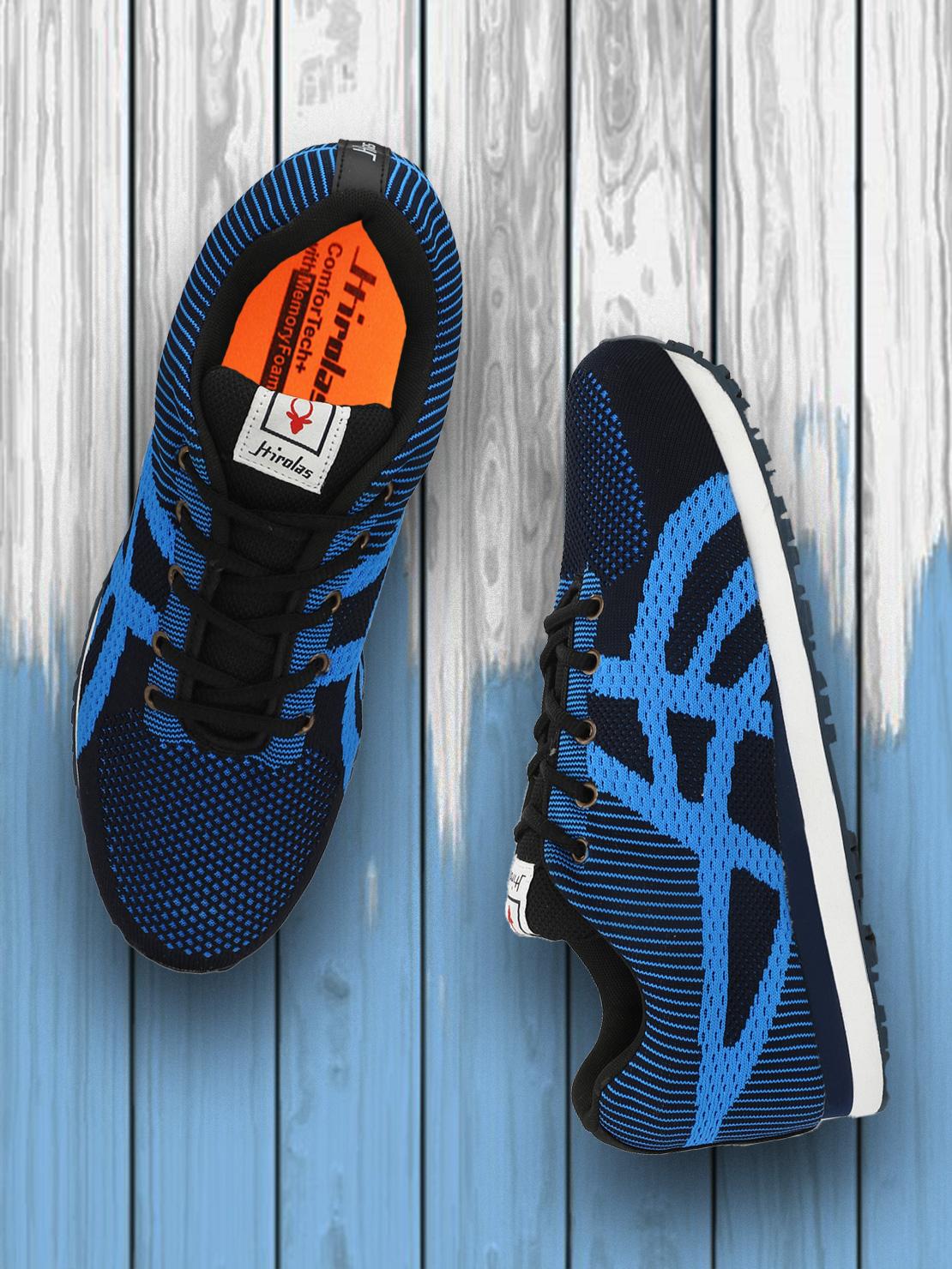 Hirolas   Hirolas Royal Multi Sport Shock Absorbing Walking  Running Fitness Athletic Training Gym Flyknit Sneaker Shoes - Blue/Sky Blue
