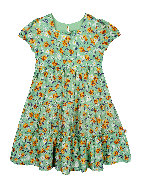 Budding Bees | Budding Bees Girls Floral Dress-Green