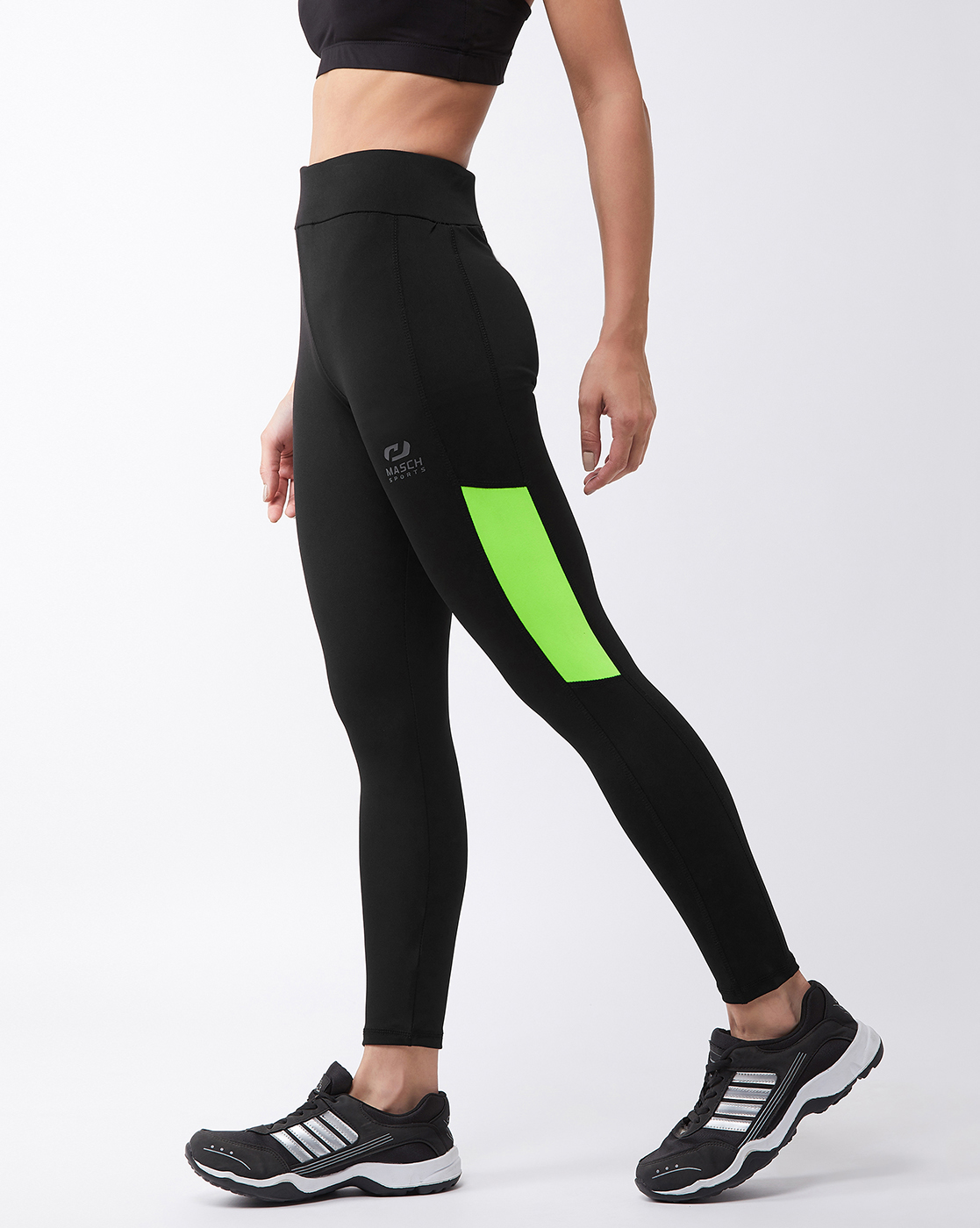 Masch Sports   Masch Sports Women's Black Solid Sports Tights with Colour Block Fluorescent Neon Side Panel
