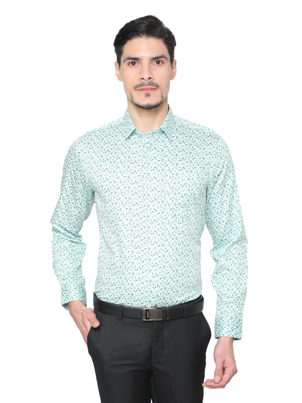 J. HAMPSTEAD | J. Hampstead Men's Green Slim Fit Floral Printed Formal Shirt