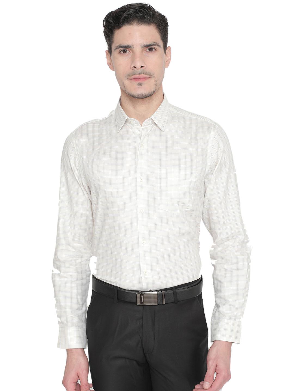 J. HAMPSTEAD   J. Hampstead Men's Yellow Slim Fit Checked Formal Shirt