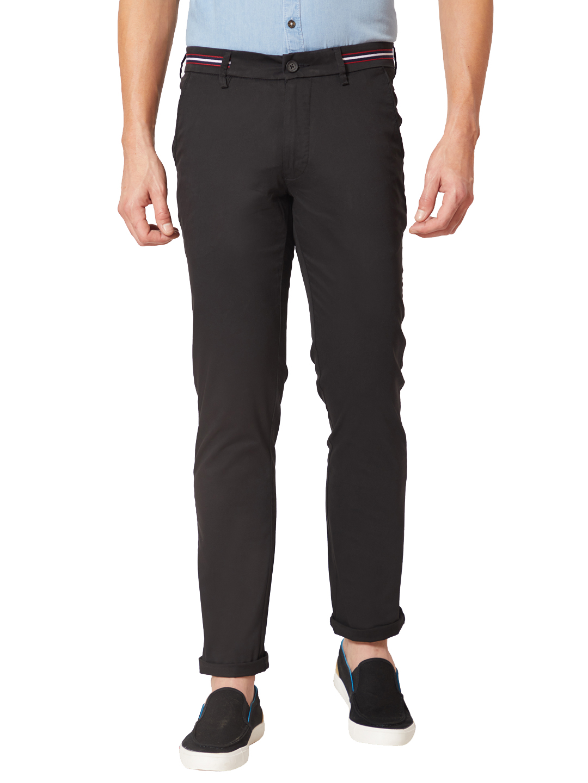 J. HAMPSTEAD   J. Hampstead Men's Black Slim Fit Solid Regular Trousers