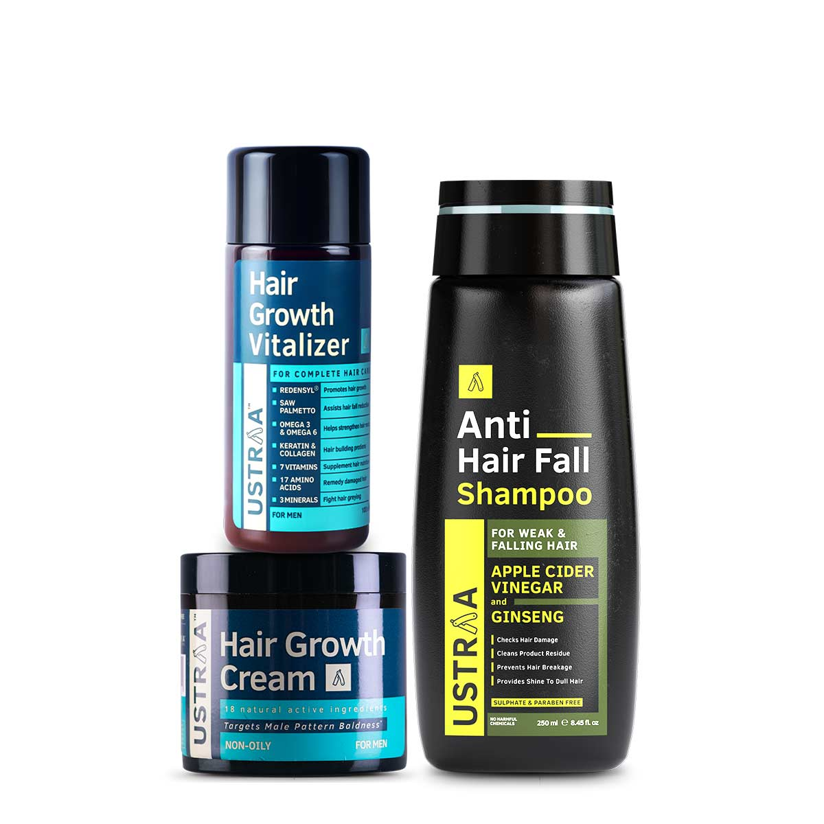 Ustraa | Anti Hair Fall Shampoo, Hair Growth Vitalizer & Cream (Pack of 3)
