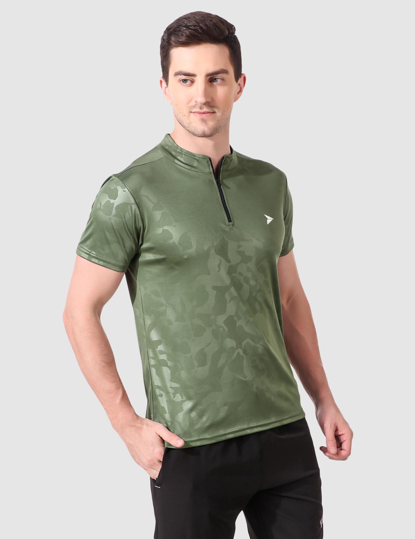 Fitinc | Fitinc Olive Polyester Mandarin Collar T-Shirt