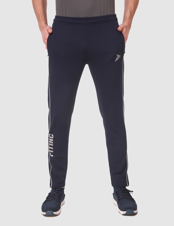 Fitinc   Fitinc Karara Navy Blue Track Pant for Men with Piping Design