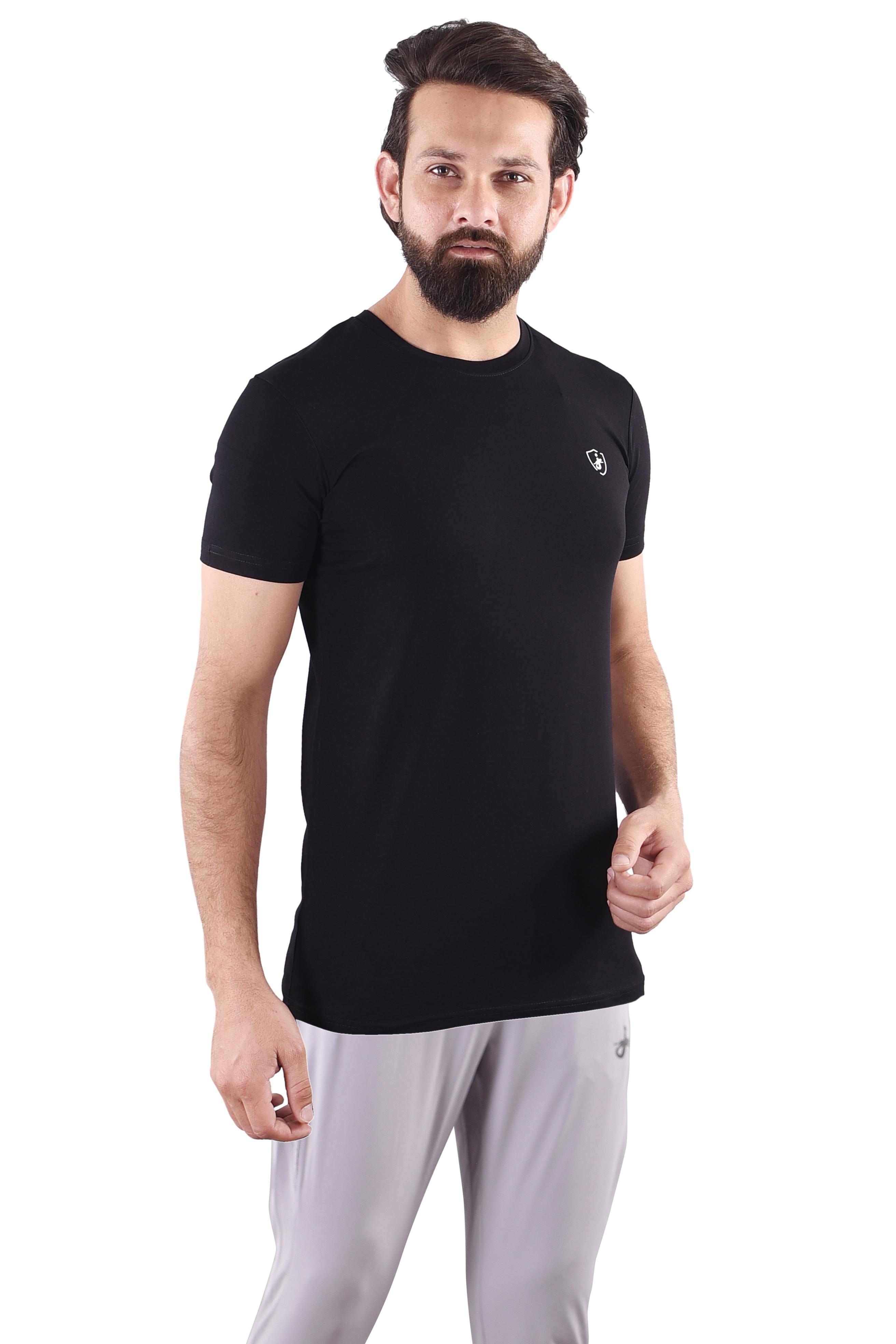 JAGURO | JAGURO  Men's Cotton Solid Round Neck Black T-Shirt