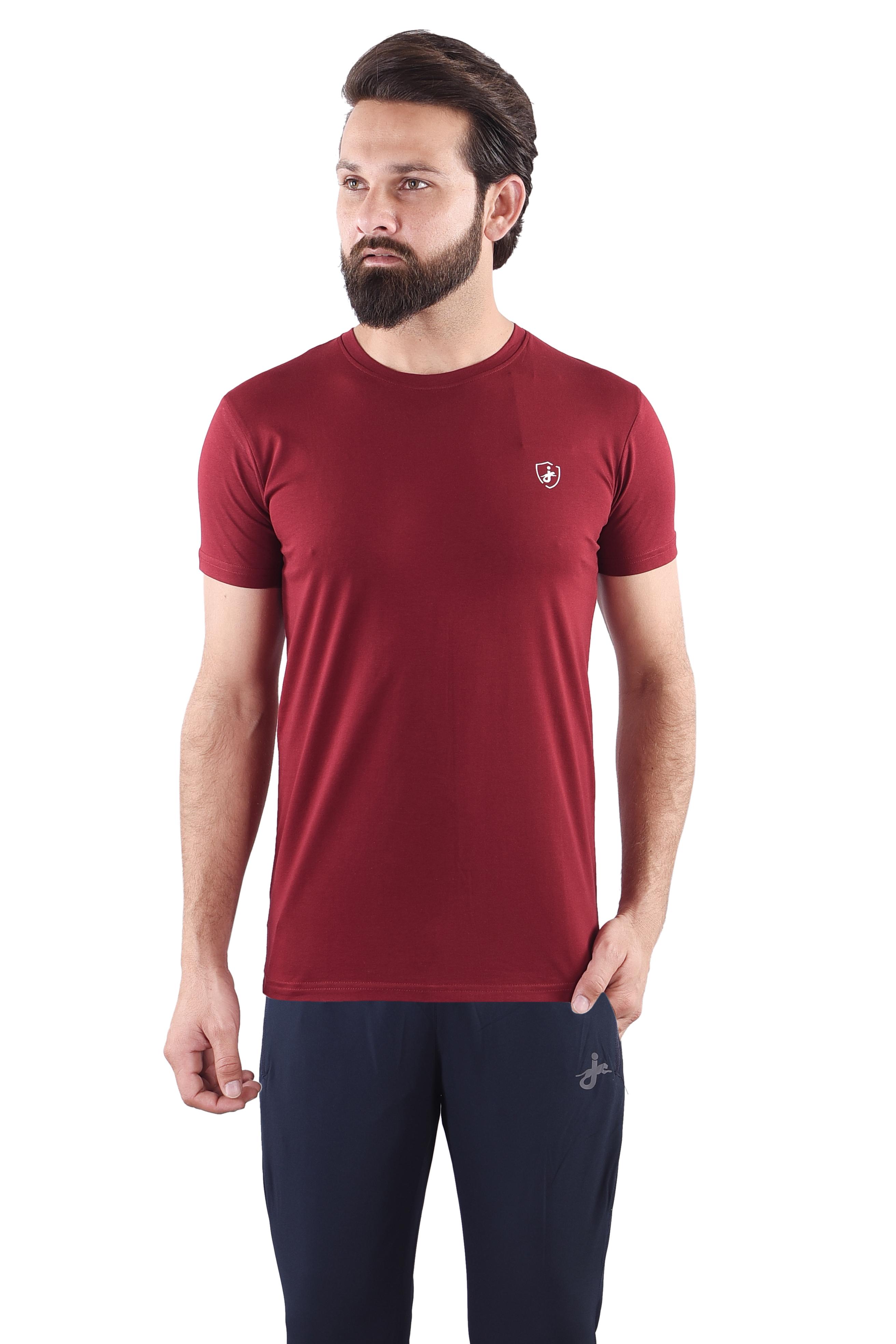 JAGURO   JAGURO  Men's Cotton Solid Round Neck Maroon T-Shirt