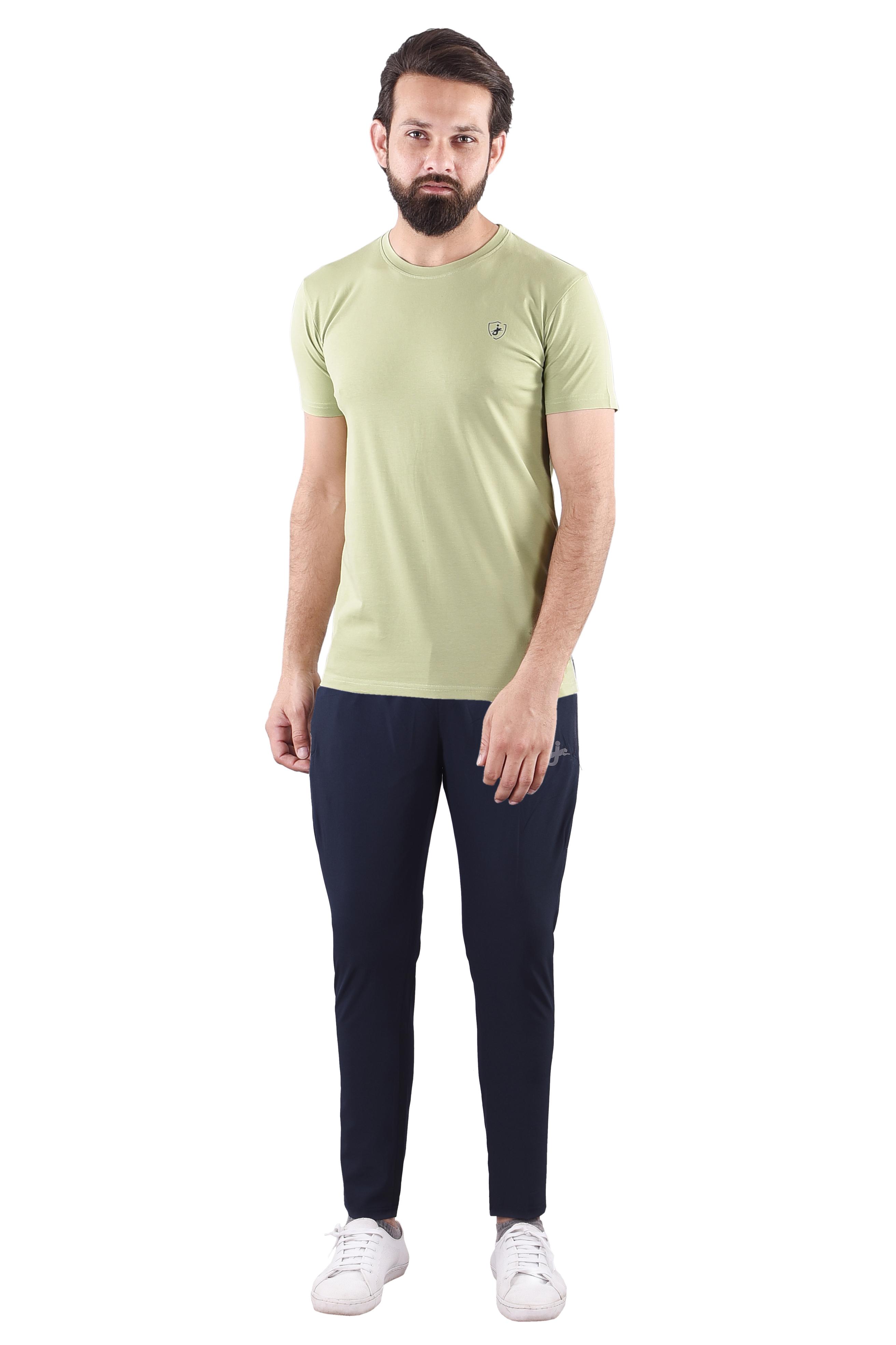 JAGURO   JAGURO  Men's Cotton Solid Round Neck Olive T-Shirt