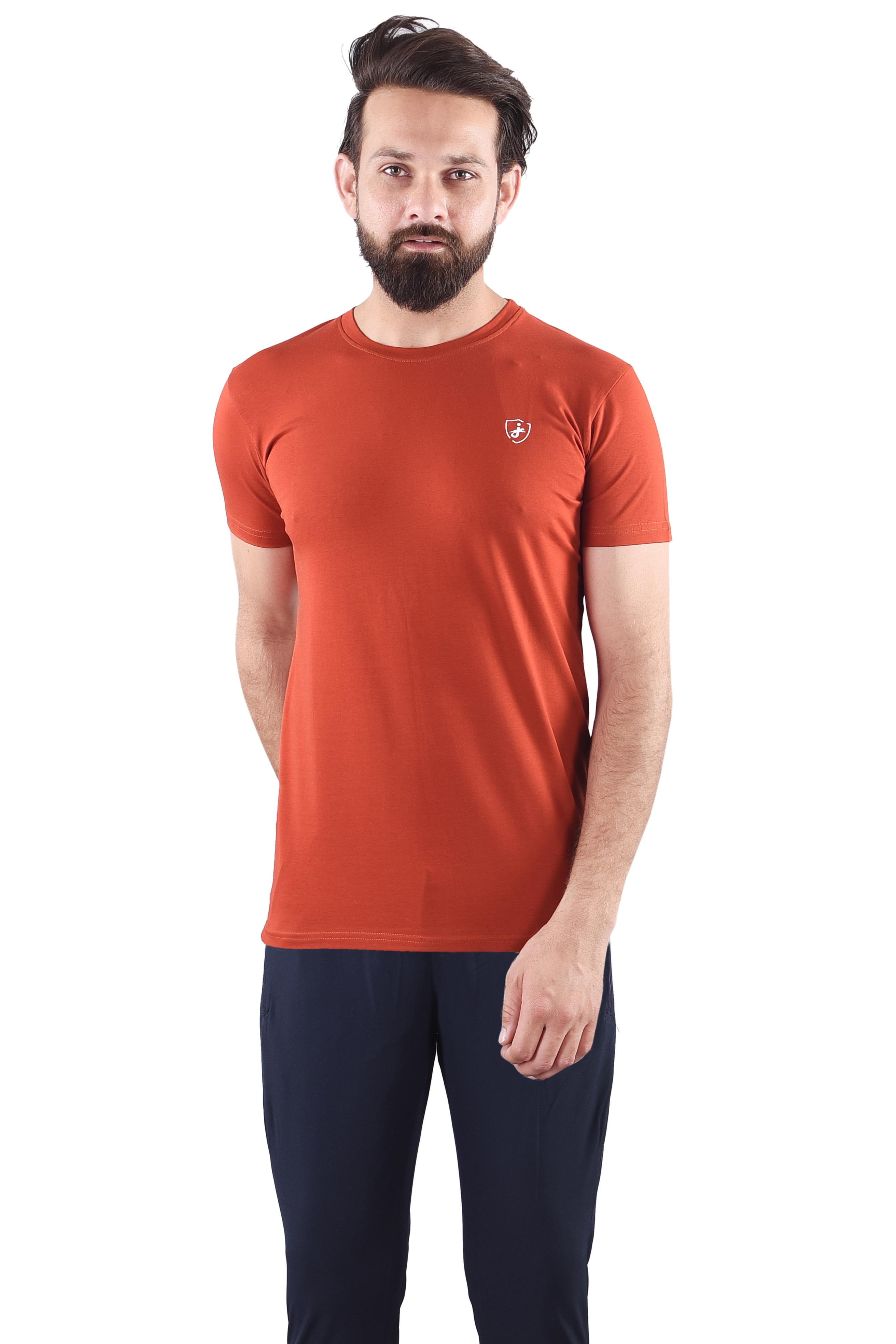 JAGURO   JAGURO  Men's Cotton Solid Round Neck Rust T-Shirt