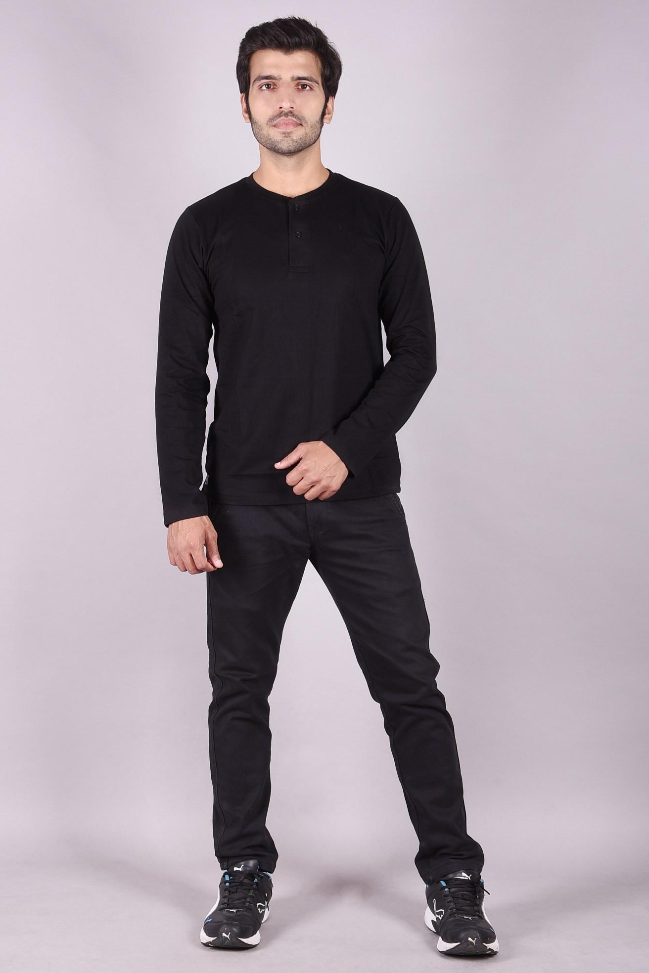 JAGURO   Stylish Mandarian collar full Sleeves T-shirt .