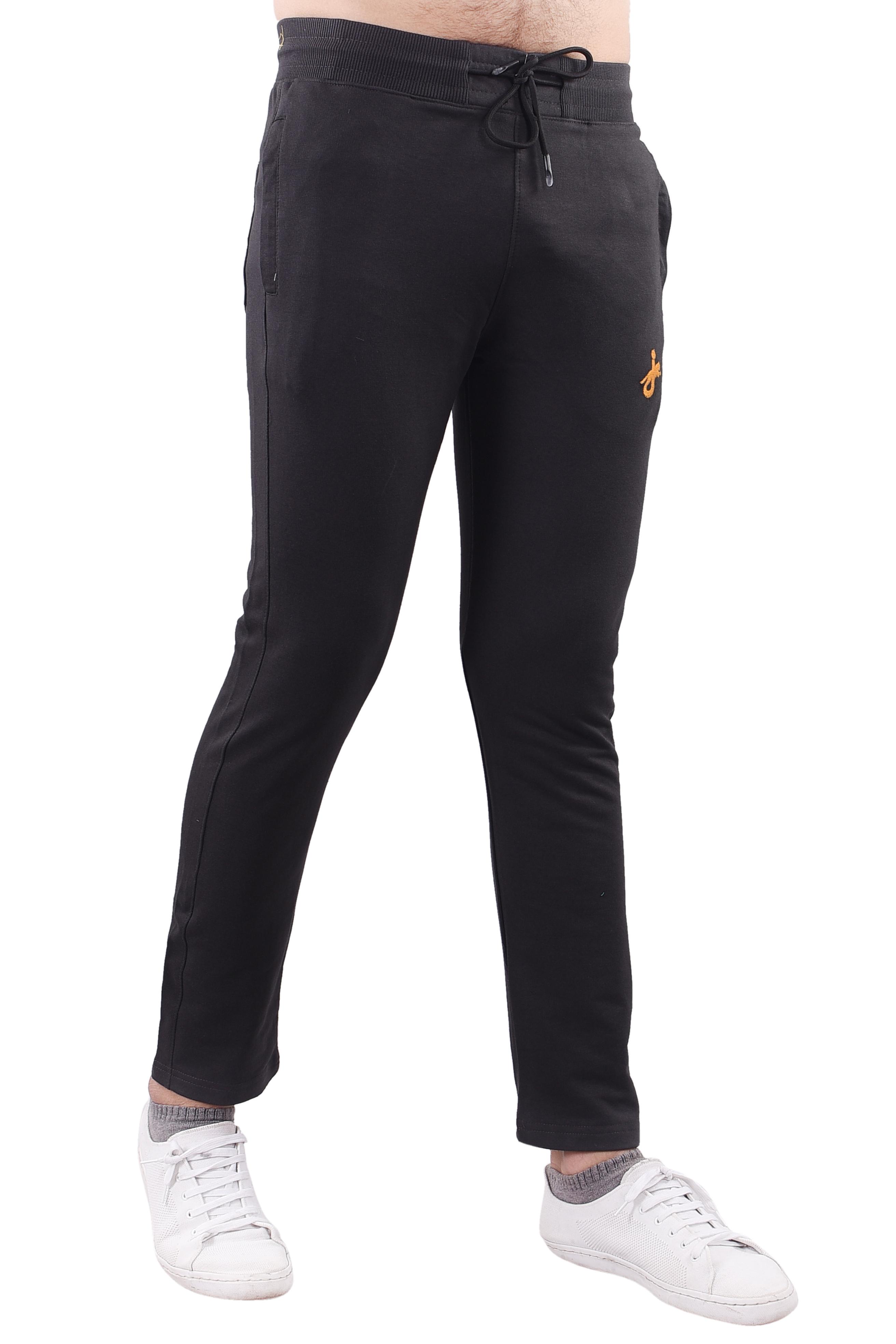 JAGURO | JAGURO Men's Cotton Solid Black Casual Track-Pant.