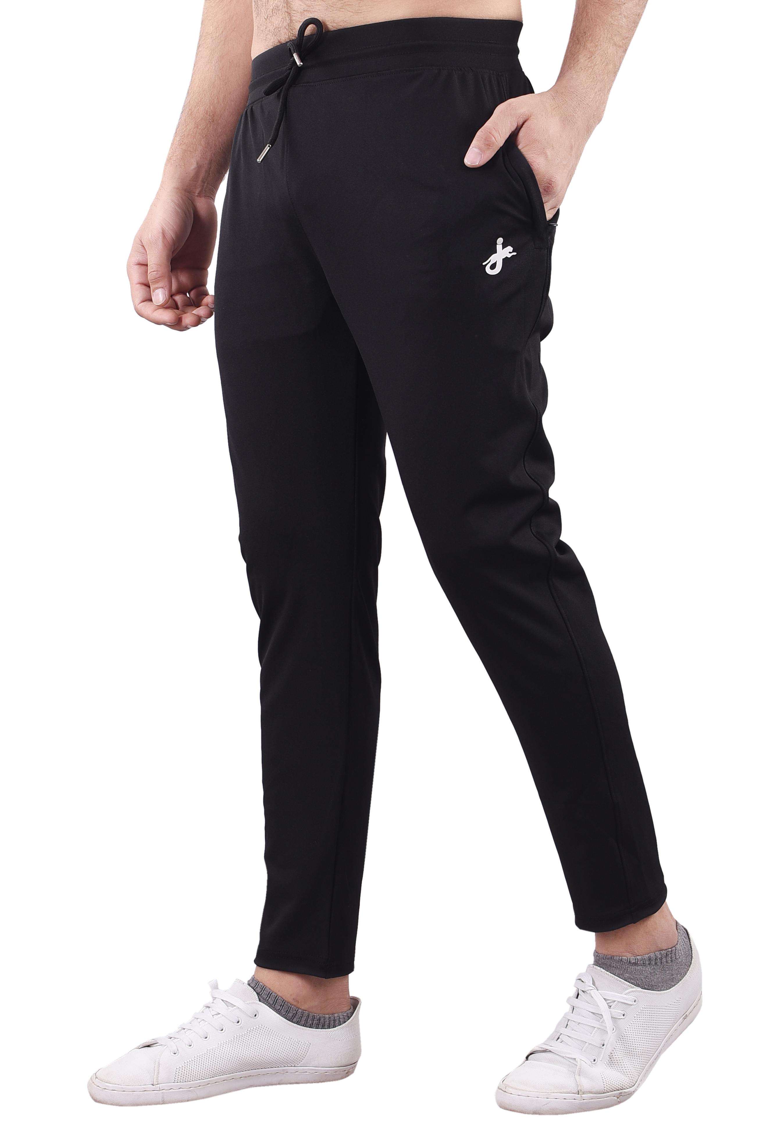JAGURO | JAGURO Men's Polyester Solid Black Casual Track-Pant.
