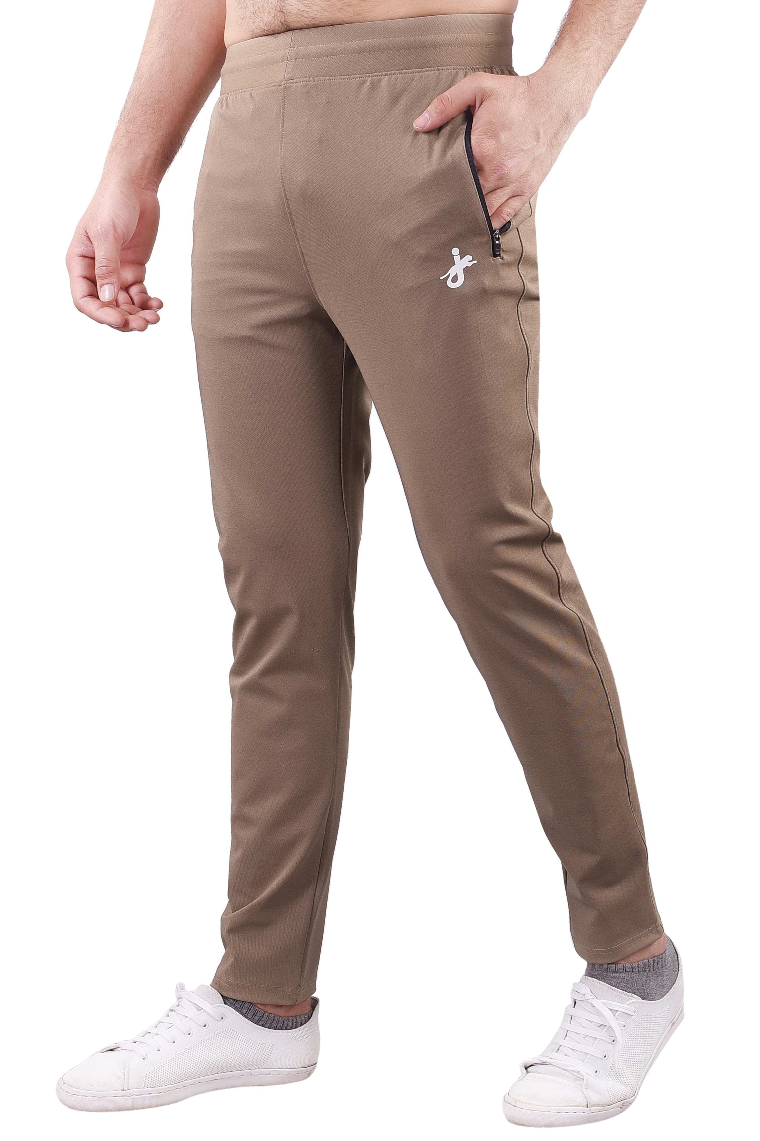 JAGURO | JAGURO Men's Polyester Solid Beige Casual Track-Pant.