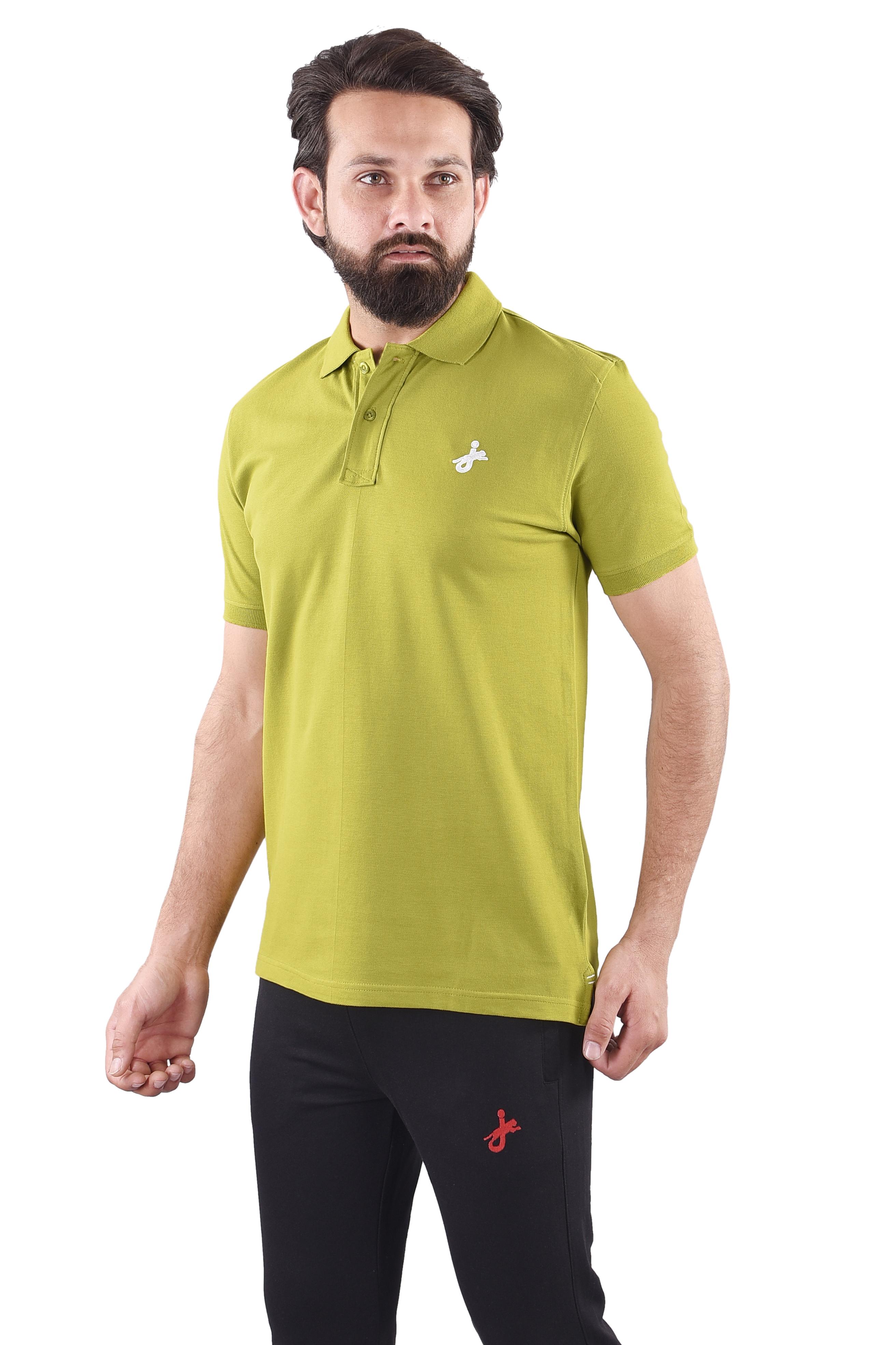 JAGURO | JAGURO  Men's Cotton Solid Polo Collar  T-Shirt.