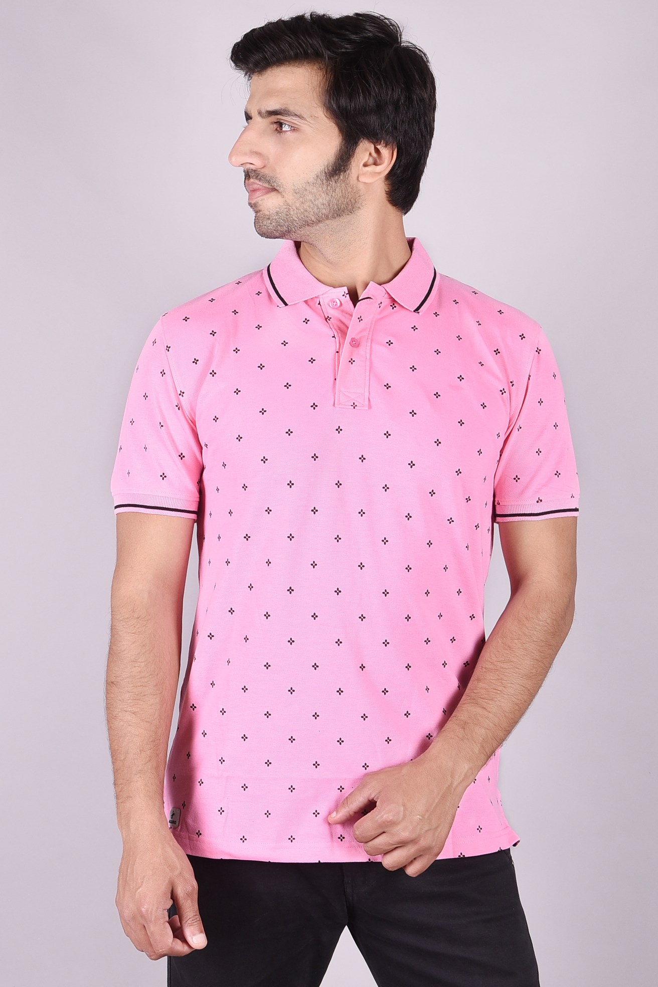 JAGURO | Stylish casual Printed cotton collar T-shirt.