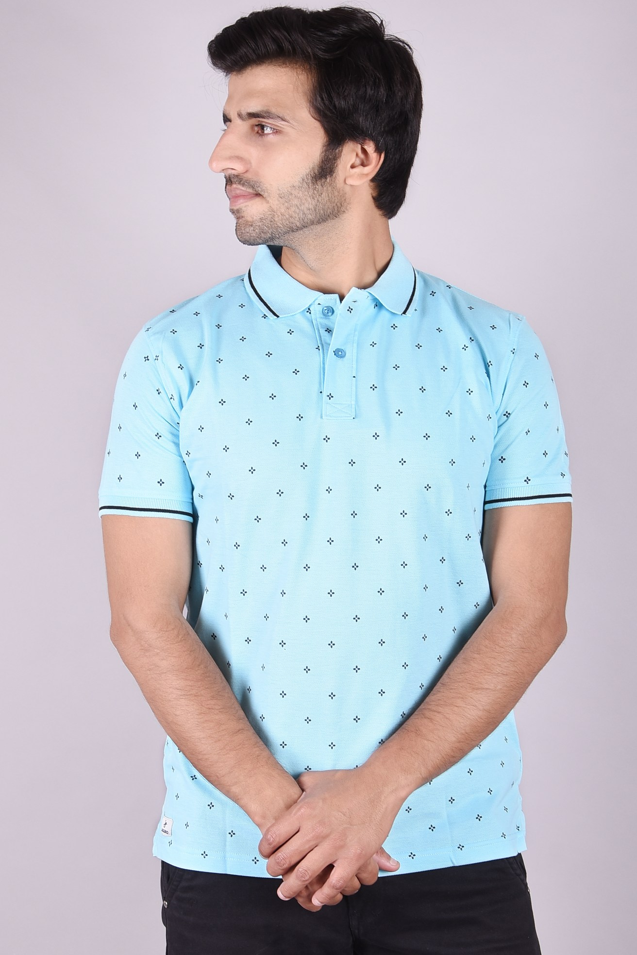 JAGURO   Stylish casual Printed cotton collar T-shirt.