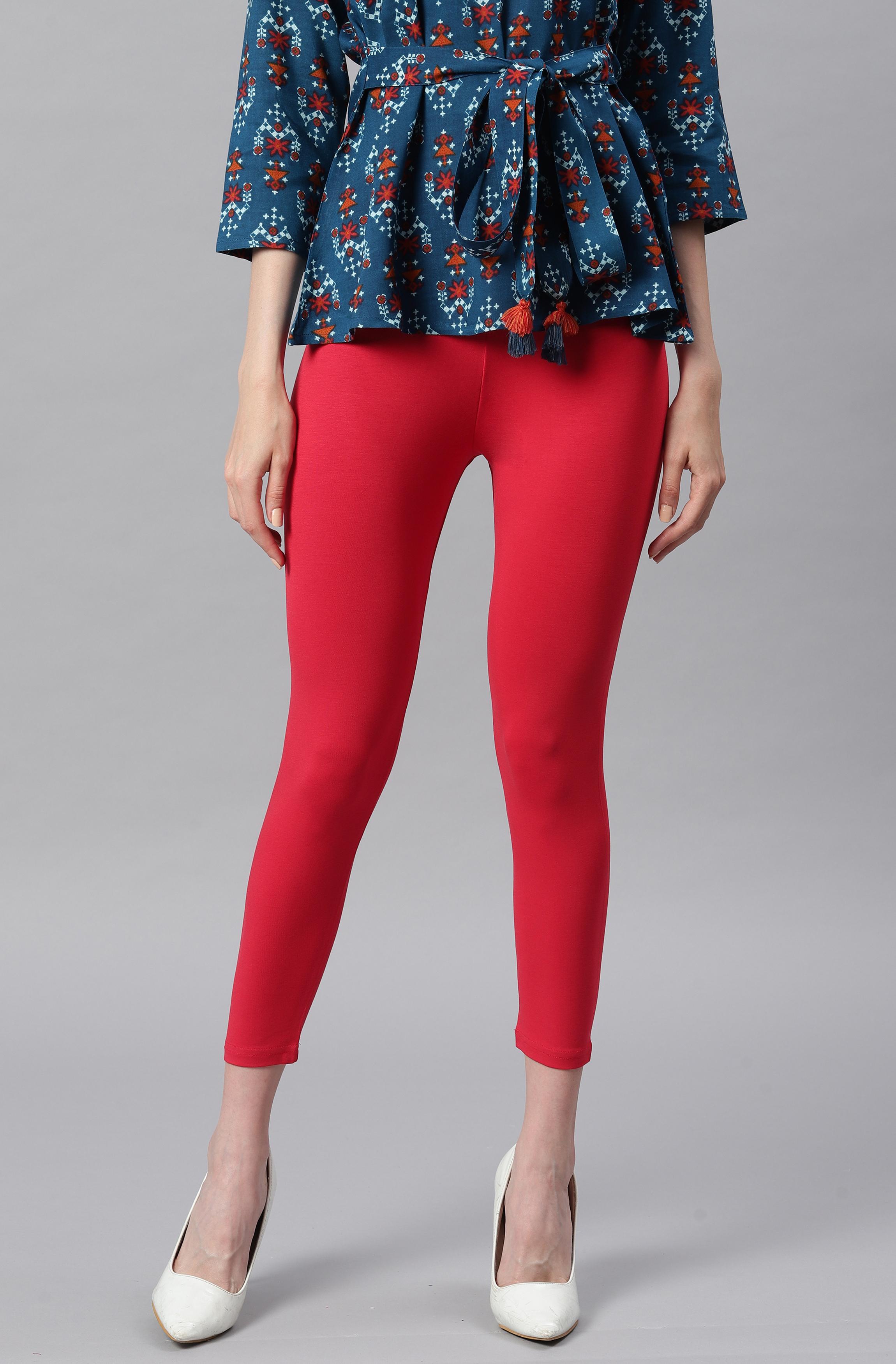 Janasya | Janasya Women's Red Viscose Lycra Leggings