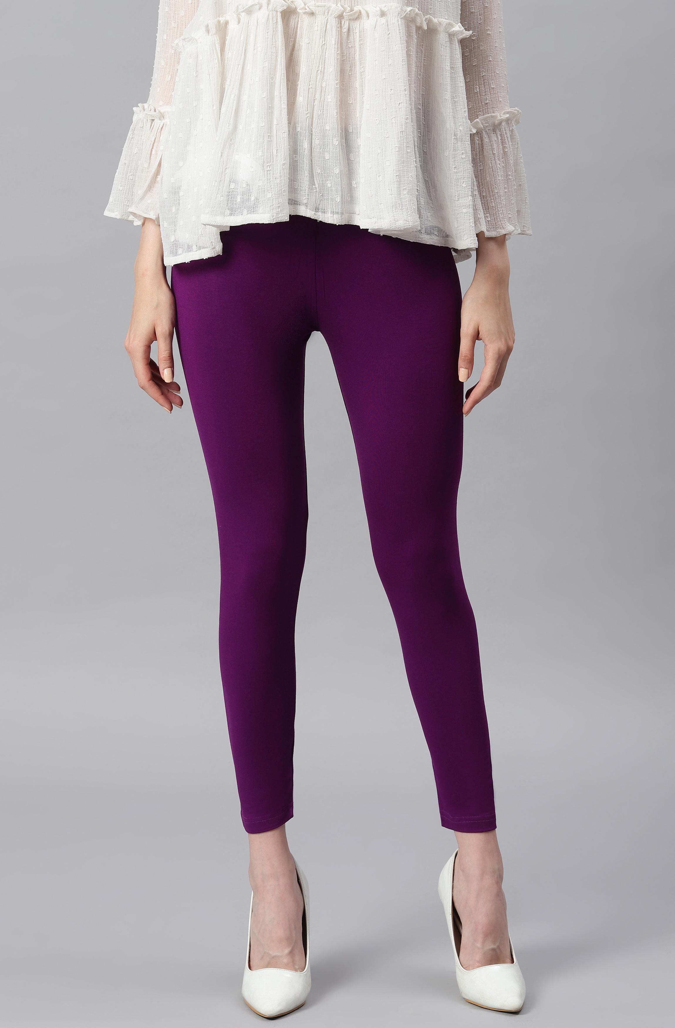 Janasya | Janasya Women's Purple Viscose Lycra Leggings
