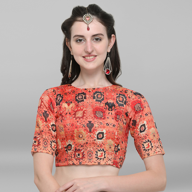 Janasya | Janasya Women's Orange Poly Silk Stitched Blouse