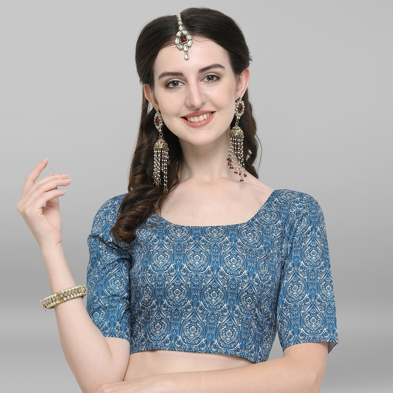 Janasya | Janasya Women's Blue Poly Silk Stitched Blouse