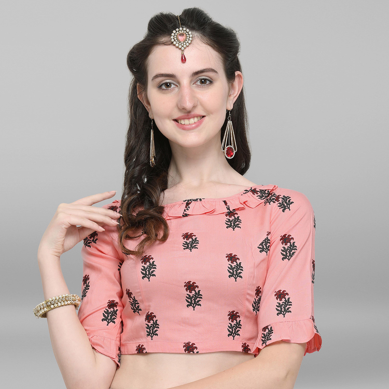 Janasya | Janasya Women's Peach Rayon Stitched Blouse