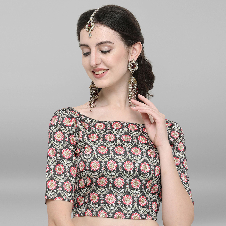 Janasya | Janasya Women's Green Poly Silk Stitched Blouse