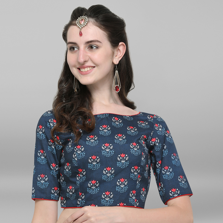 Janasya   Janasya Women's Blue Poly Silk Stitched Blouse