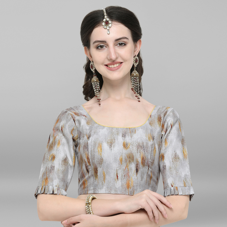 Janasya | Janasya Women's Grey Poly Silk Stitched Blouse