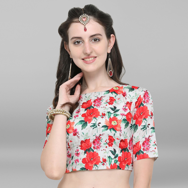 Janasya | Janasya Women's Multicolor Poly Silk Stitched Blouse