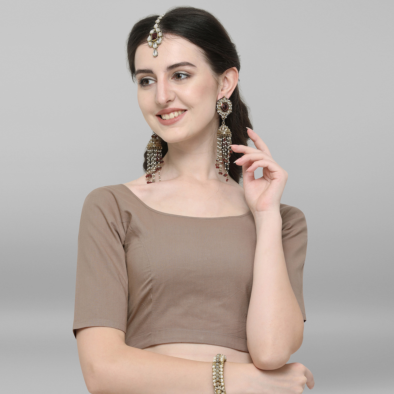 Janasya | Janasya Women's Beige Cotton Stitched Blouse