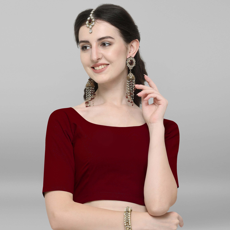 Janasya | Janasya Women's Maroon Cotton Stitched Blouse