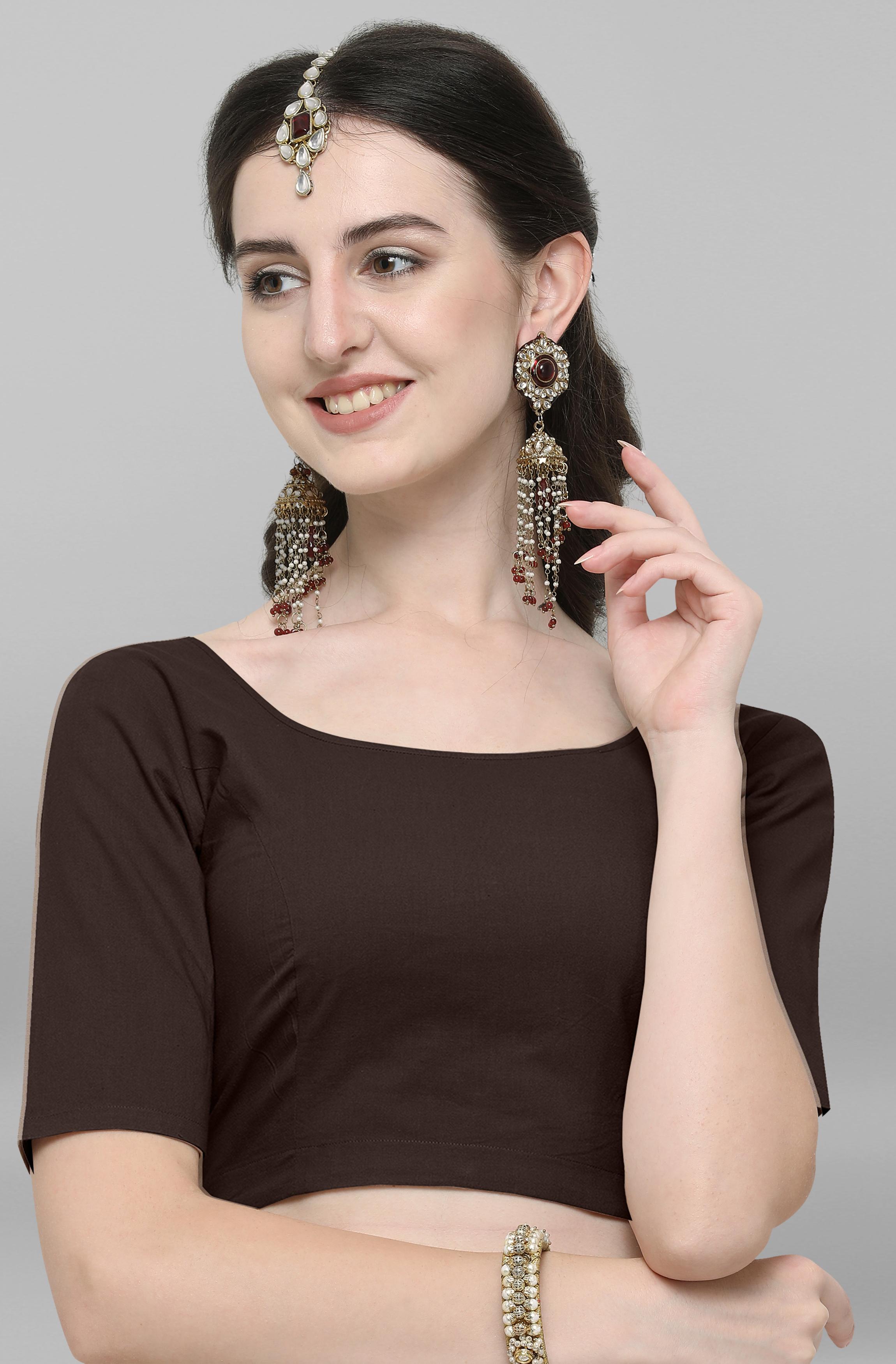 Janasya | Janasya Women's Brown Cotton Stitched Blouse