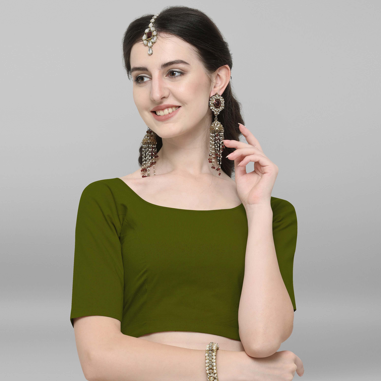 Janasya | Janasya Women's Green Cotton Stitched Blouse