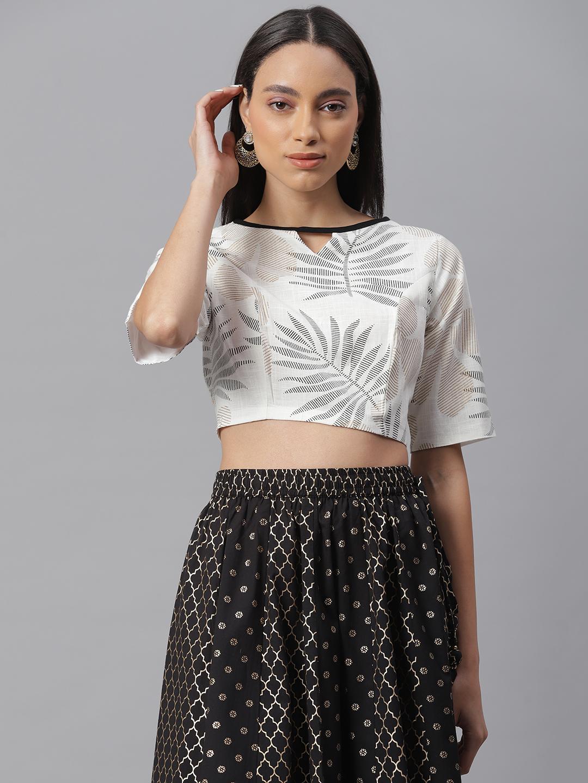 Janasya   Janasya Women's Black Cotton Stitched Blouse
